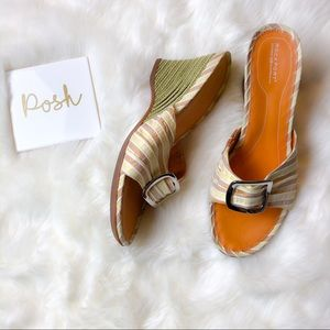 Rockport Buckle Bamboo Striped Wedges